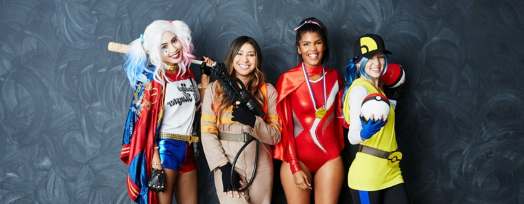 Idea per un travestimento originale per Halloween con quattro ragazze travestite