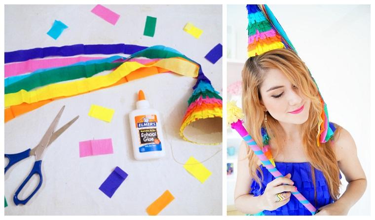 Occorrente per creare un cappello da pinata con fogli di carta crespa colorata