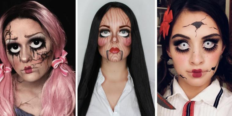 Trucco bambola assassina, tre ragazze con un make up adatto per Halloween