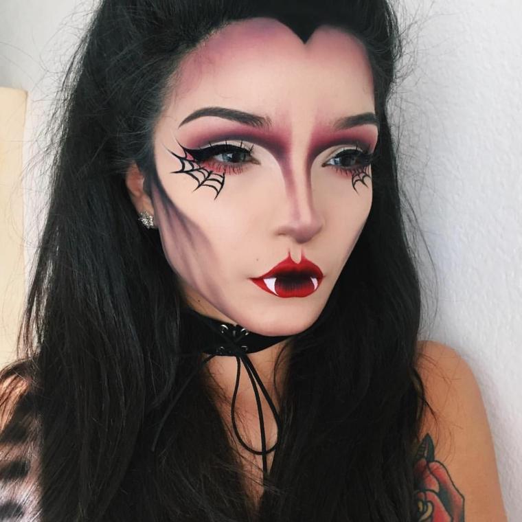 Idea per un make up da vampira per Halloween, ragazza truccata con un effetto contouring