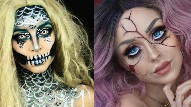 Trucchi per Halloween viso, due ragazze truccate una come scheletro l'altra come una bambola rotta