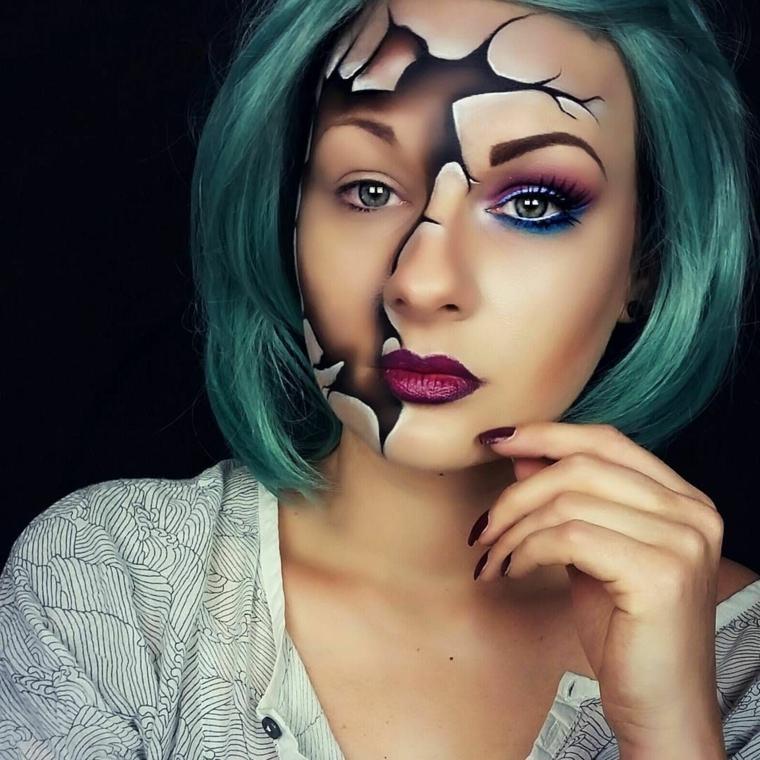 Trucchi semplici per Halloween, ragazza con i capelli verdi truccata come una bambola rotta