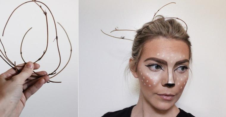 Trucchi per Halloween viso, ragazza truccata come un cervo e rametti nei capelli