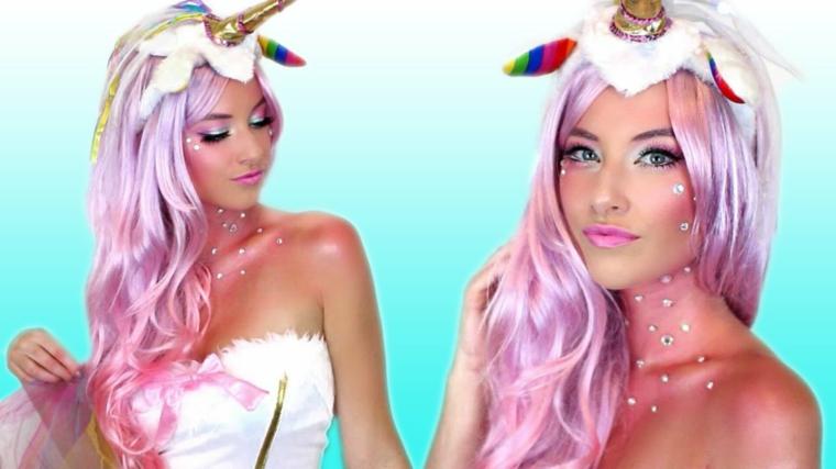 Idea per un make up particolare di una ragazza con i capelli risa e cerchietto da unicorno