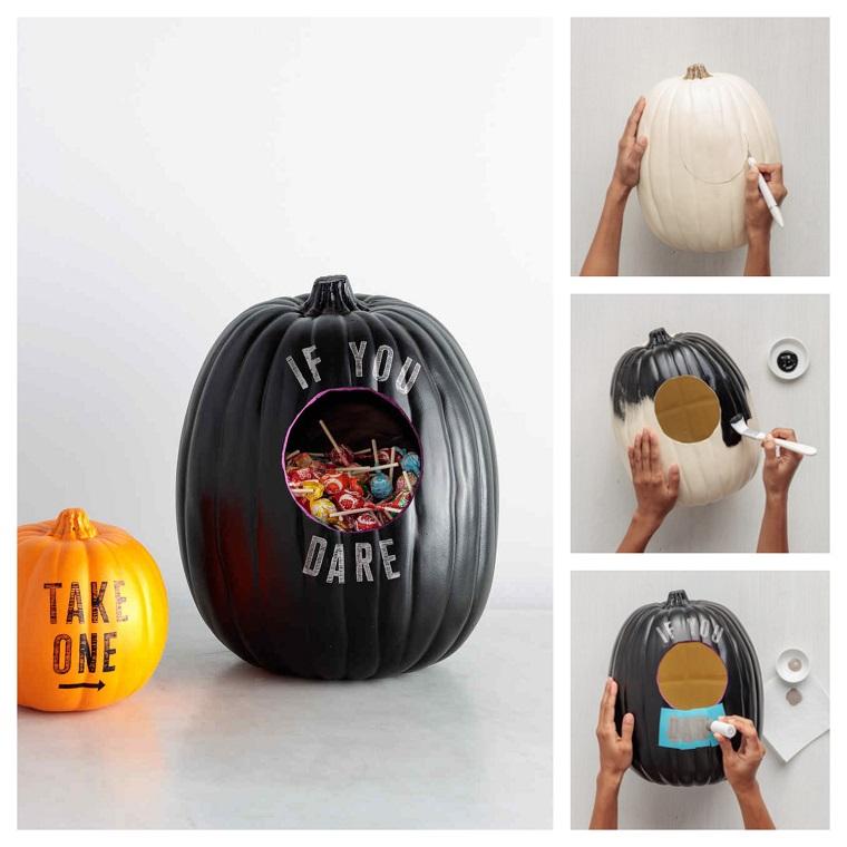 Zucche ornamentali e tutorial sul come creare un contenitore per caramelle a tema Halloween