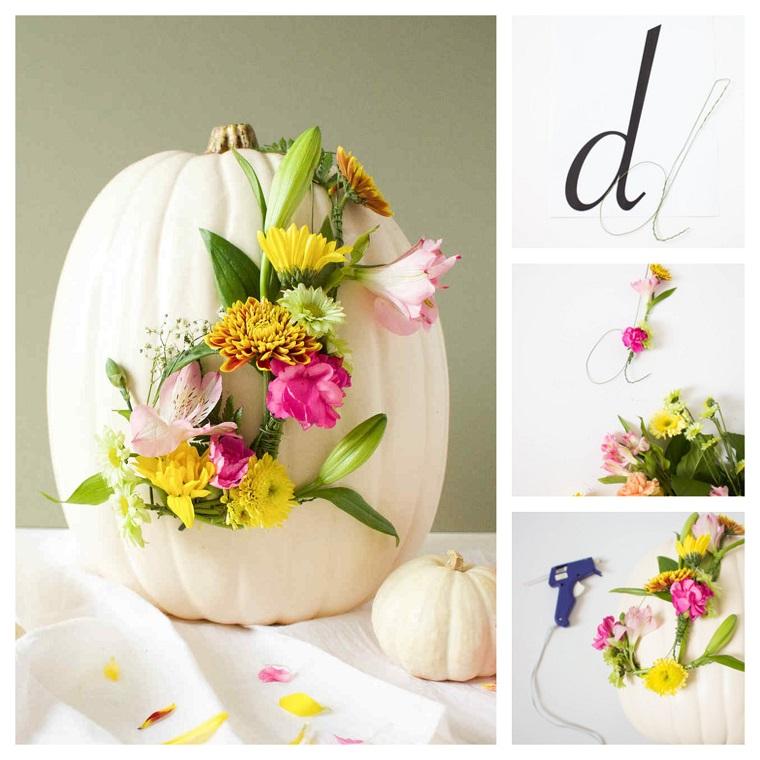 Come non far marcire zucca di halloween, idea decorazione con fiori e filo di ferro