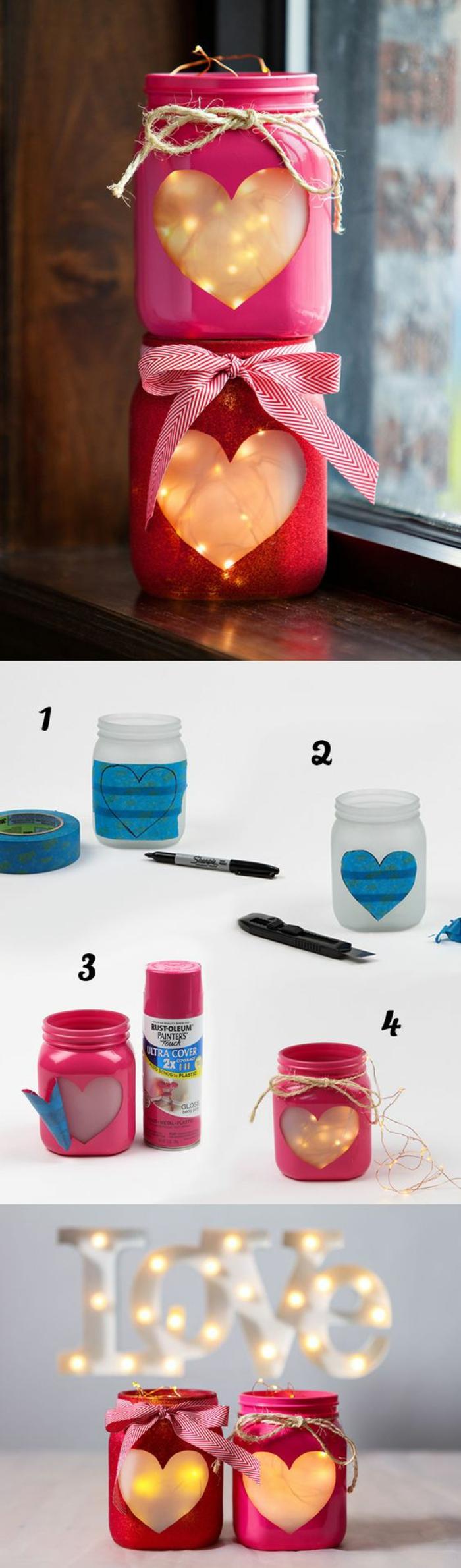 Barattoli di vetro utilizzati come lanterne con fili luminosi, piccolo tutorial per la realizzazione