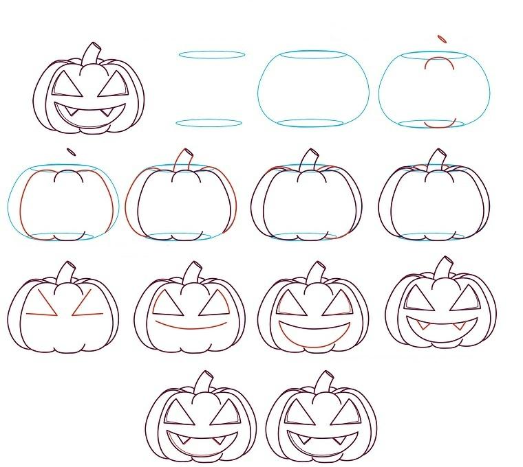 Zucca di Halloween disegno con tutorial passo per passo in un diagramma