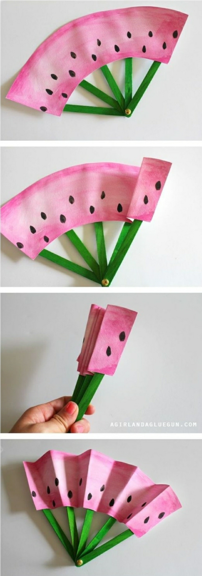 Idee lavoro creativo con la realizzazione di un ventaglio di carta a forma di anguria