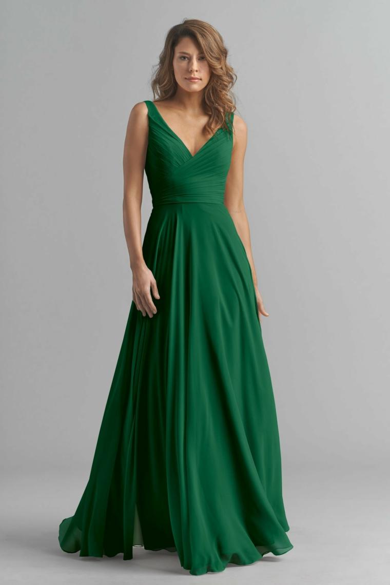 Vestito di colore verde plissettato, abiti eleganti economici e un outfit elegante da cerimonia