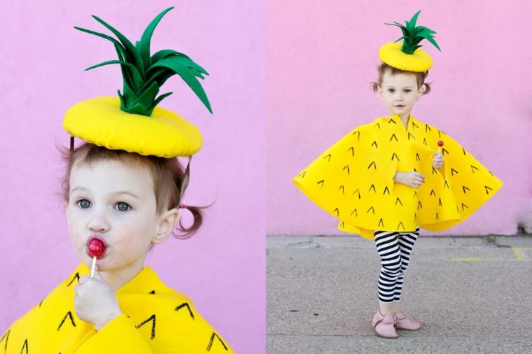 Costumi Halloween bambina e un'idea come ananas con cappello di feltro con foglie verdi