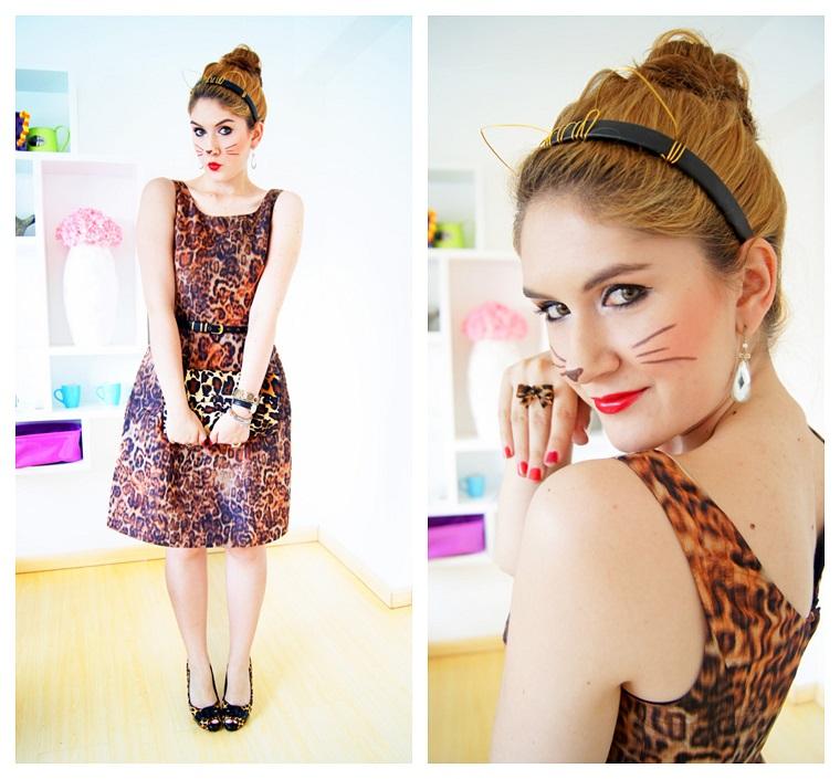 Come vestirsi ad Halloween, ragazza con un abito stampa leopardo e trucco da gattino