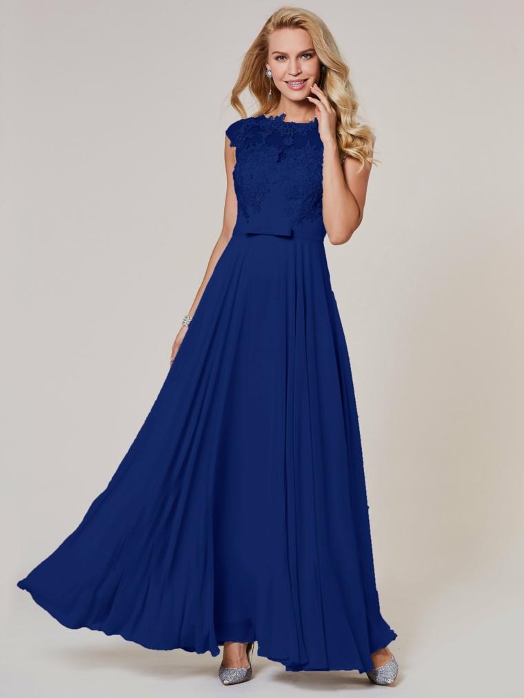 Elegante abito blu lungo per una cerimonia, vestito plissettato con fiocco