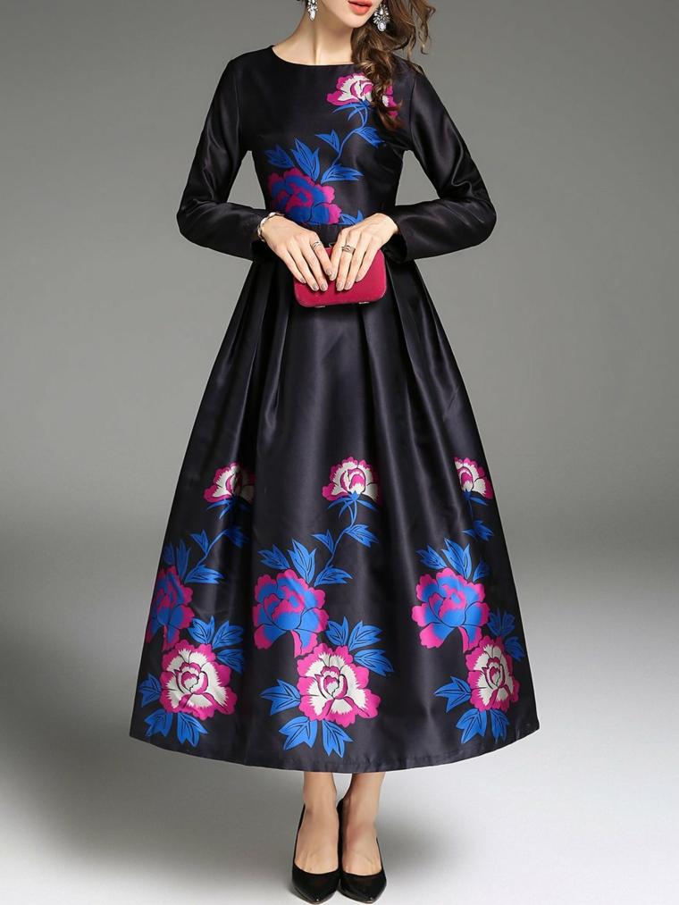 Vestiti firmati e un'idea abbigliamento per cerimonia con abito lungo nero