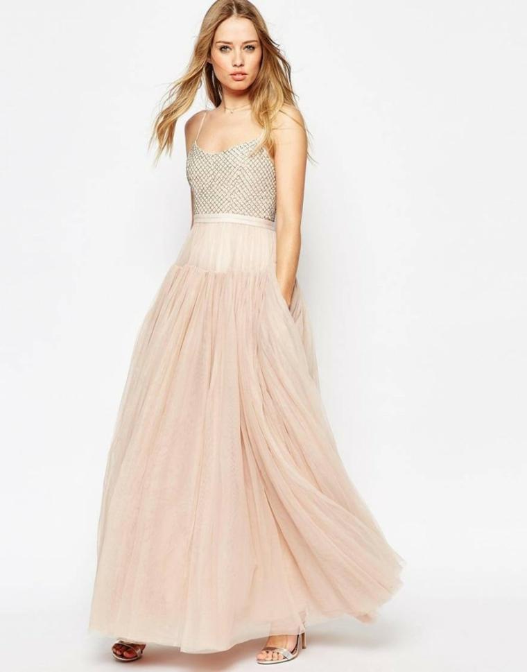 Vestito lungo di colore rosa con parte bassa in tulle, bustino color argento