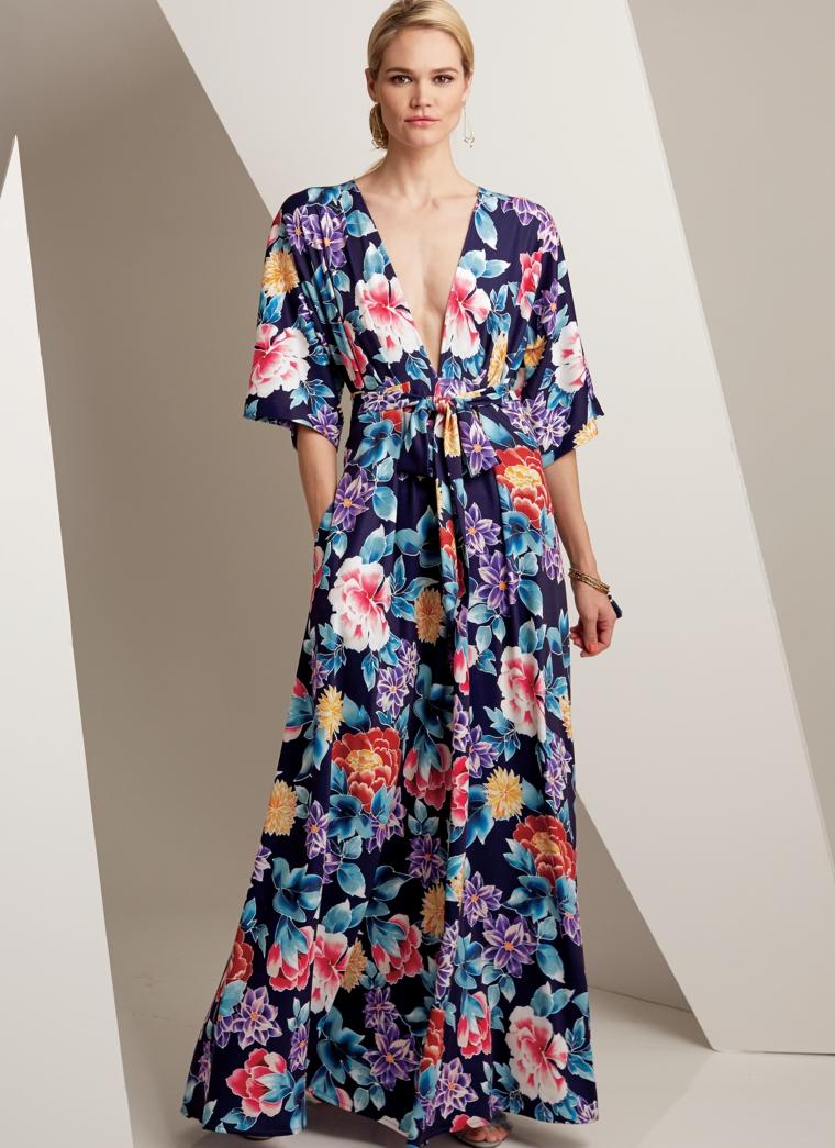 Vestiti lunghi estivi con stampa floreale, abito elegante con una scollatura a V