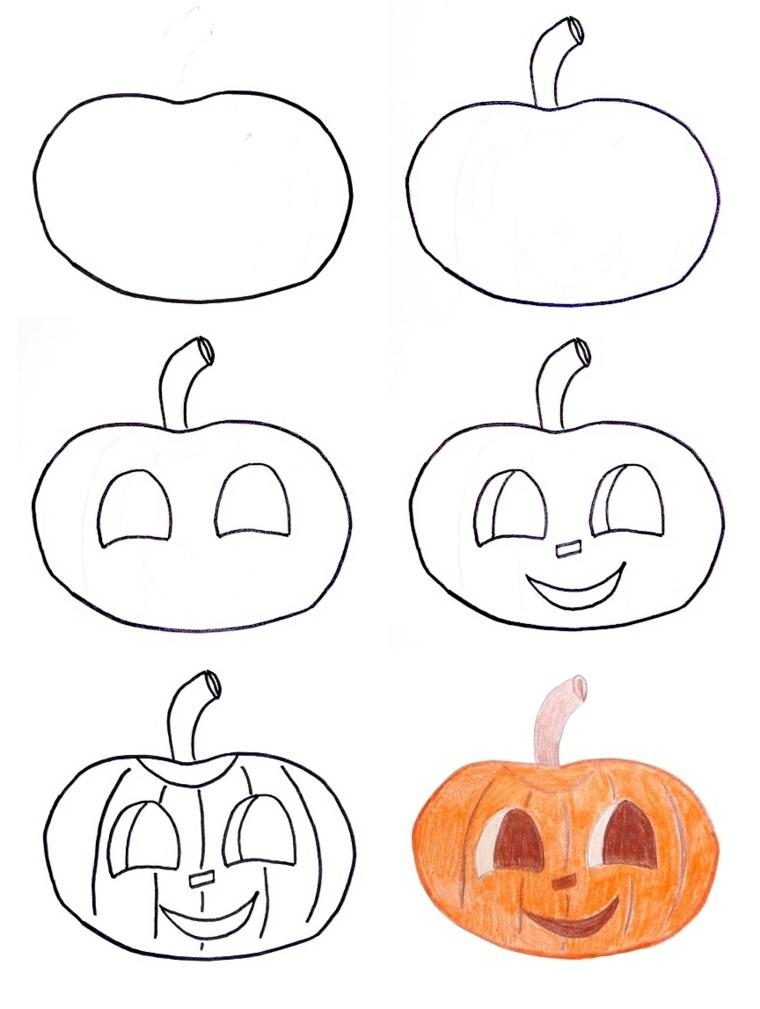 Disegno zucca di Halloween, tutorial come disegnare una zucca di colore arancione con faccia