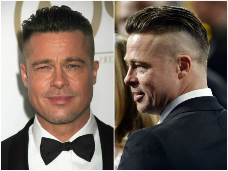 L'attore Brad Pitt e la sua acconciatura capelli rasati e pompadour di colore biondo