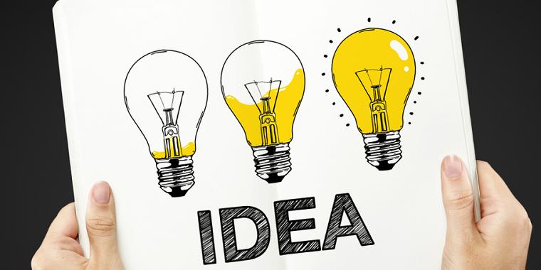 Attività commerciali redditizie e le idee giuste per realizzarle, disegno di tre lampadine colorate