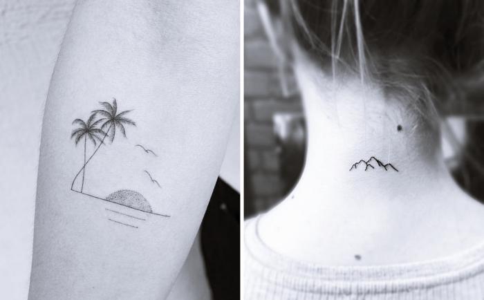Idea per dei tatuaggi piccoli femminili e disegni di spiaggia con palme e montagne