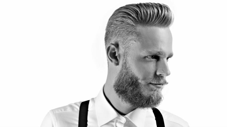 Taglio capelli uomo rasati ai lati e acconciatura pompadour, abbigliamento elegante con camicia bianca