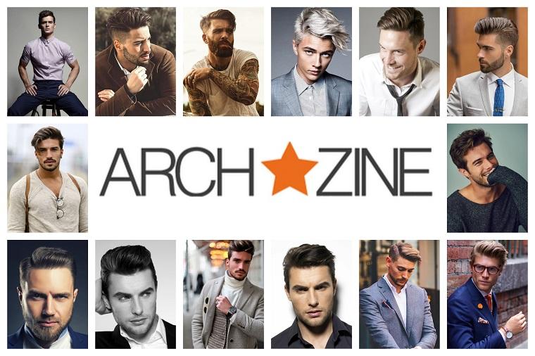 Collage di foto con uomini e le loro acconciature di capelli e tagli
