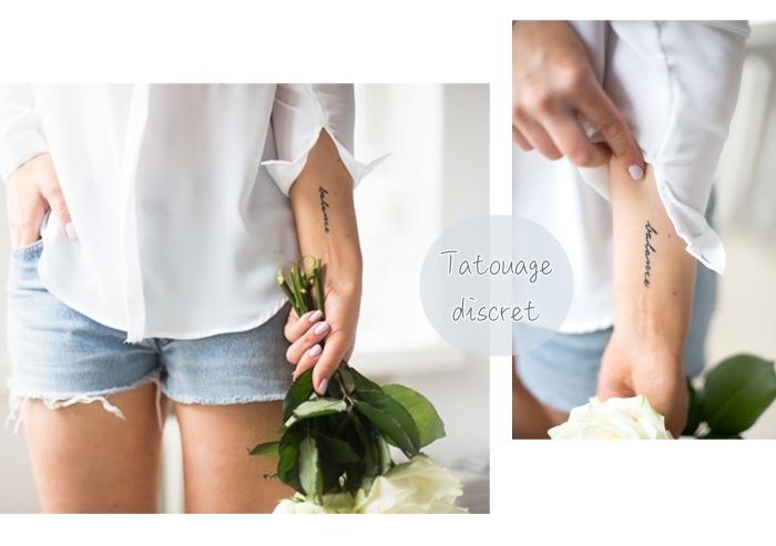 Tatuaggi piccoli particolari femminili e un'idea con scritta sul braccio di una donna