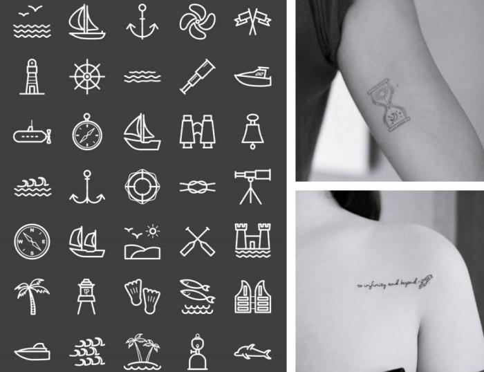 Tatuaggio immagini e un'idea con tanti simboli ispirati al mare