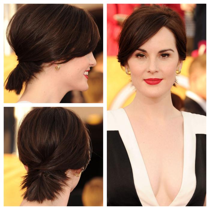 Tagli capelli corti immagini, ragazza con acconciatura a caschetto di colore castano legati indietro