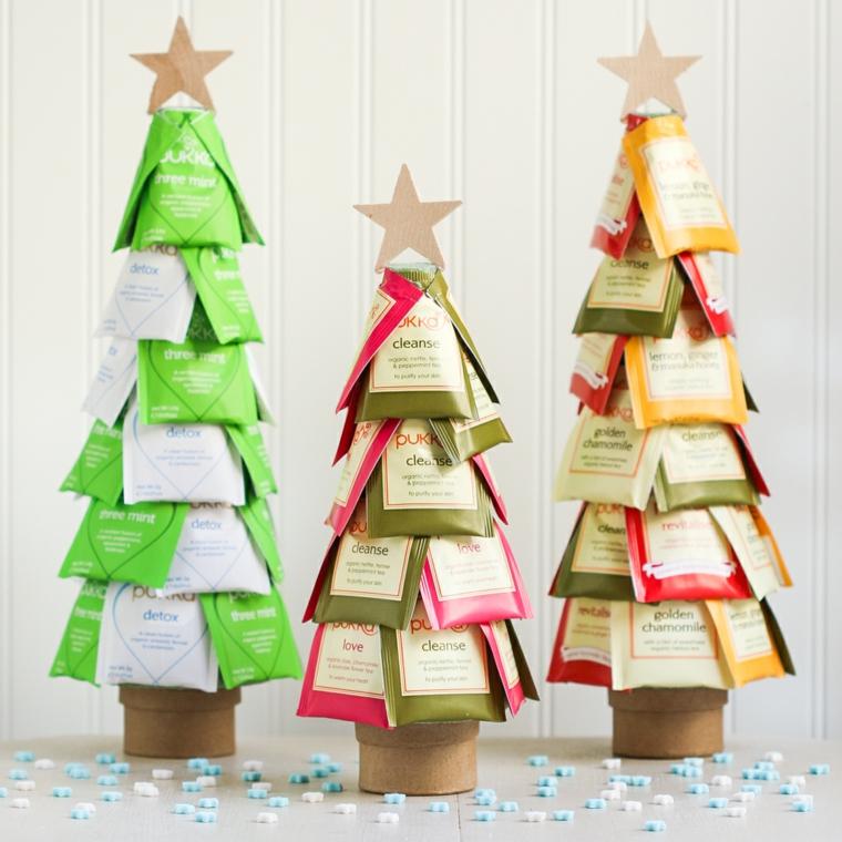 Lavoretti per bambini facili con alberelli di Natale fatti dalle bustine di tè