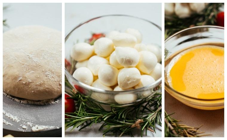 Ingredienti in ciotole per pane, uovo sbattuto e baby mozzarella, antipasti natalizi belli