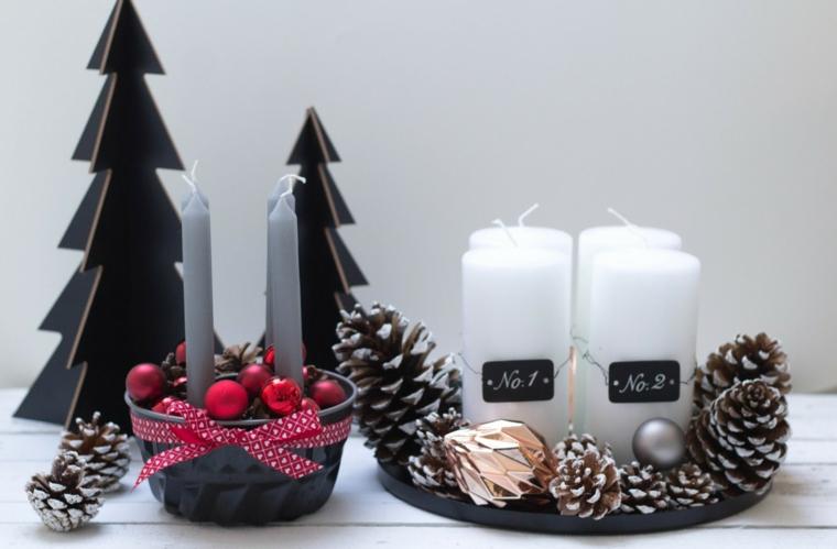Addobbi natalizi fai da te e un'idea per un centrotavola con candele, pigne e ornamenti