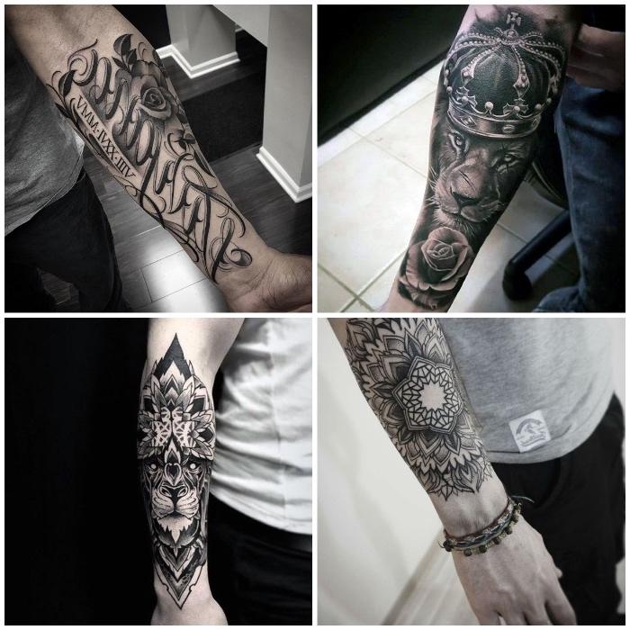 Collage di tattoo avambraccio di uomini con motivi di mandala e animali