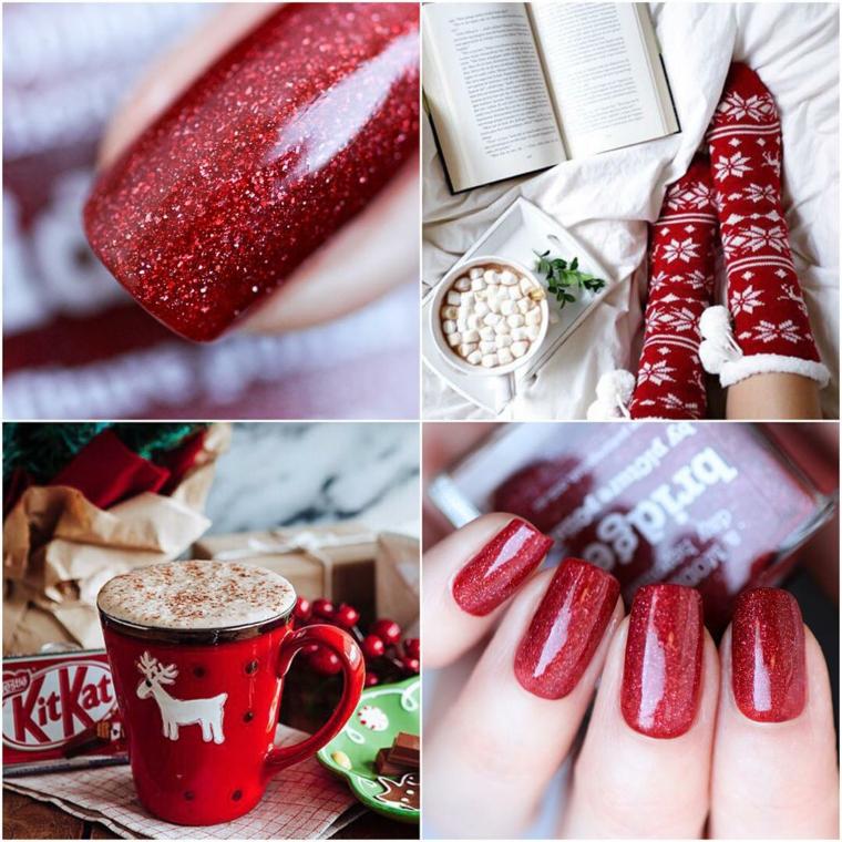 Semipermanente natalizio con smalto di colore rosso glitter per manicure lunga