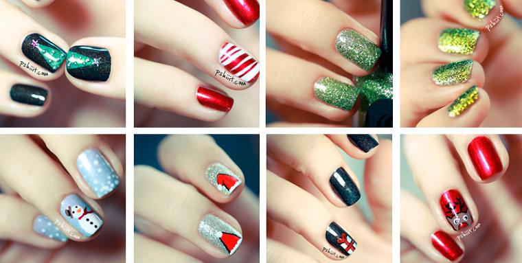 Gli smalti colorati glitter da utilizzare per la manicure natalizia delle unghie