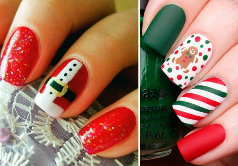 Idea per la decorazione delle unghie a tema natalizio con disegni e smalti glitter