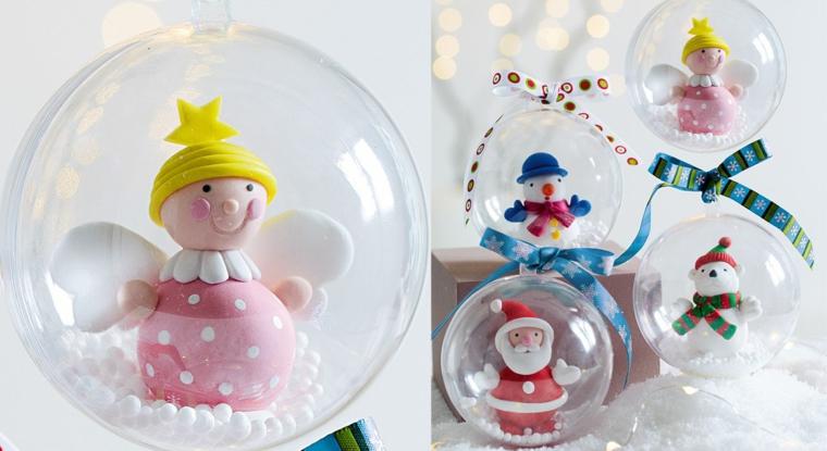 Decorazioni natalizie fai da te, sfere con giochini all'interno e neve finta