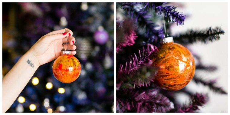 Decorazioni natalizie fai da te tutorial, pallina di plastica trasparente di colore arancione