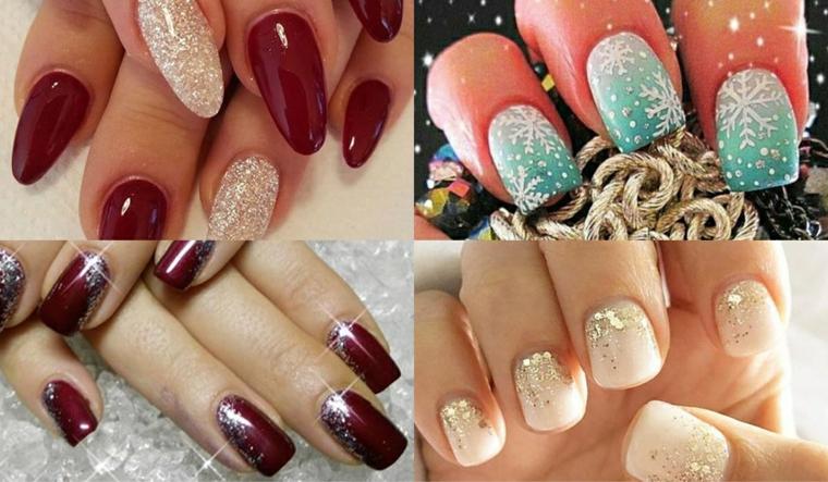 Idea per dipingere le unghie a tema natalizio con smalti glitter e sticker con fiocchi di neve