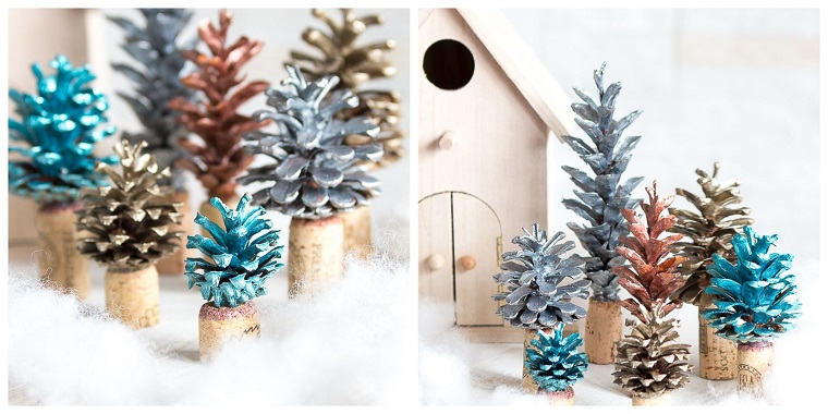 Decori natalizi con tappi di sughero e pigne colorate con colori acrilici
