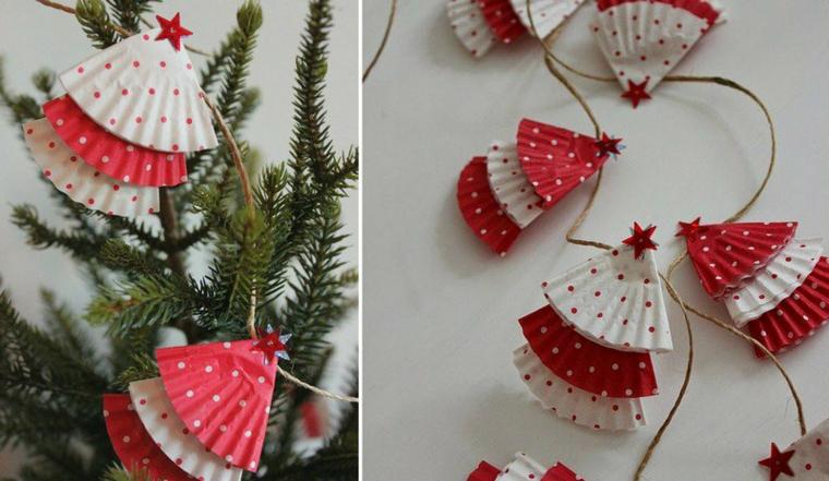 Idea per dei decori natalizi fai da te con una ghirlanda di alberelli di formine per muffins