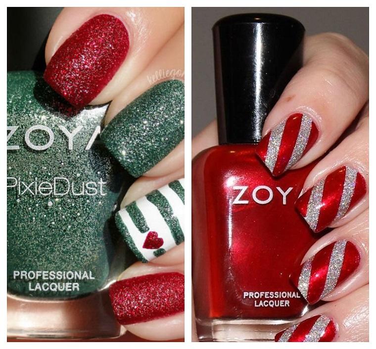 Due idee per dipingere la manicure natalizia con smalti di colore rosso e verde effetto sugar