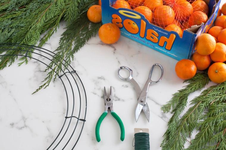 Occorrente per crear una ghirlanda con clementine e rami verdi dell'albero natalizio