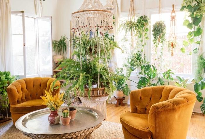 Soggiorno con tante piante da appartamento e decorazione macramè