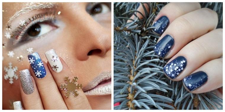 Due idee per la decorazione delle unghie in gel con smalti blu e argento glitter