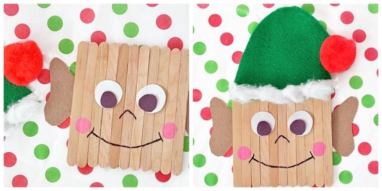 Bastoncini di legno con capellino di feltro verde, addobbi di Natale fai da te