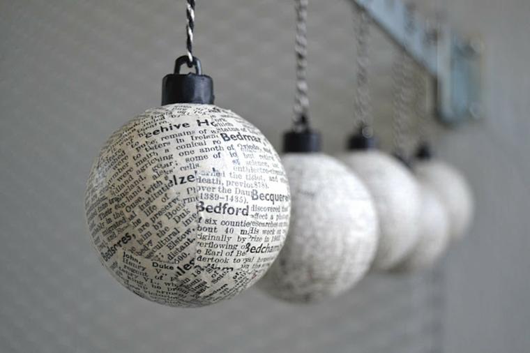 Decori natalizi fai da te, palline rivestite con fogli di giornali e appese con un filo bicolore