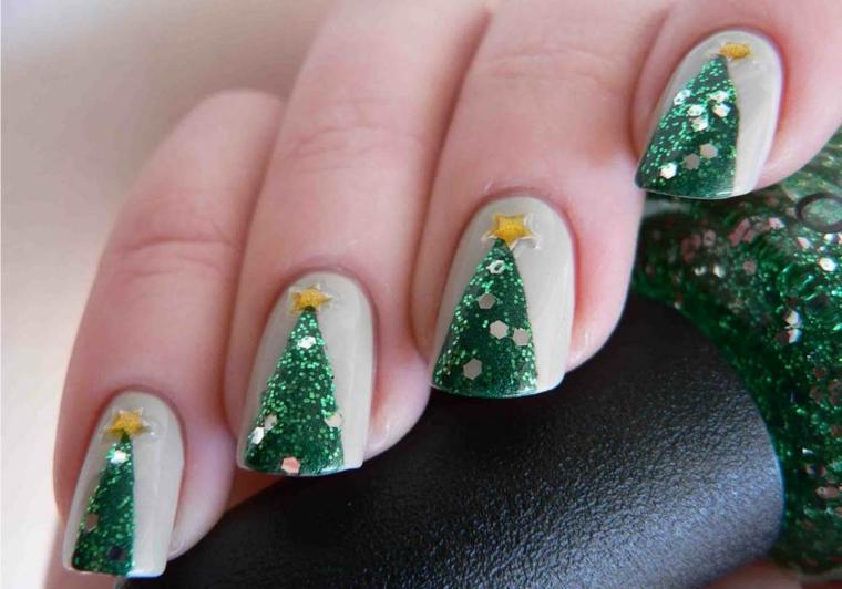 Semipermanente natalizio con disegno di un albero di Natale con stella gialla glitter