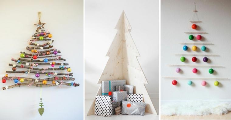 Alberi di Natale fai da te originali e tre proposte con rami di legno e palline colorate