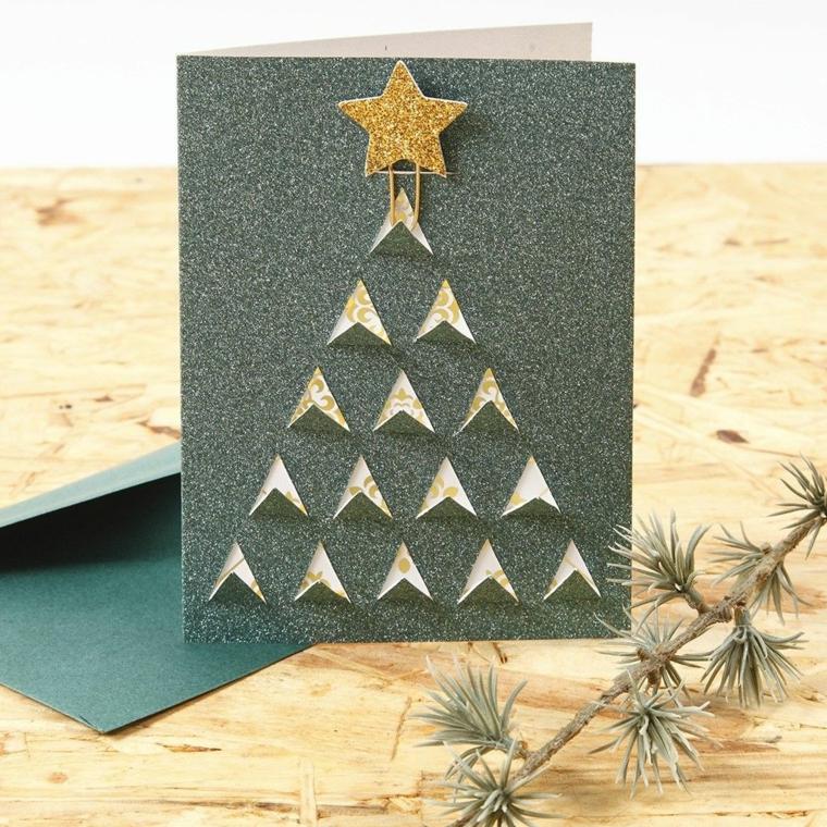 Alberi di Natale fai da te originali e un'idea con cartolina di colore grigio glitter con stella